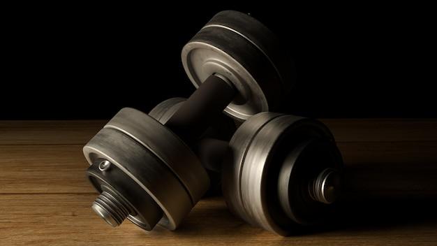 Rappresentazione di tono scuro 3d del pavimento di legno delle teste di legno per il contenuto di fitness.