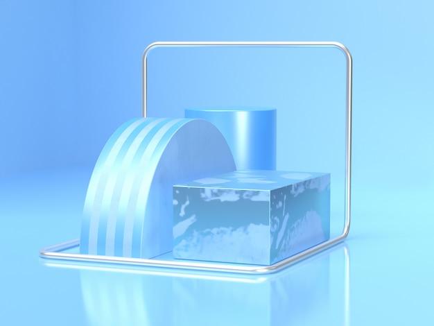 Rappresentazione geometrica 3d della scena del cilindro del quadrato del punto di semicerchio blu astratto