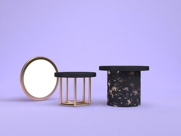 Rappresentazione geometrica 3d di forma 3d del podio nero porpora-viola di scena