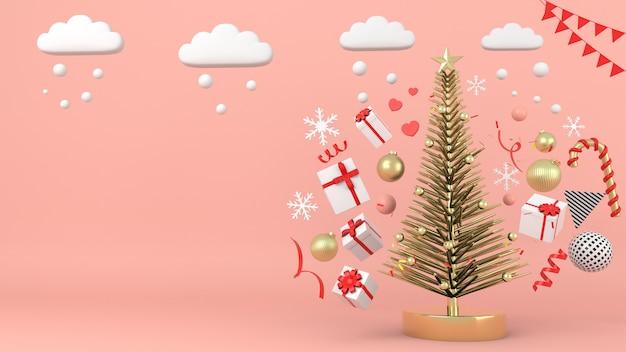 Rappresentazione geometrica della decorazione 3d di concetto del fondo dell'albero di natale di forma - illustrazione 3d