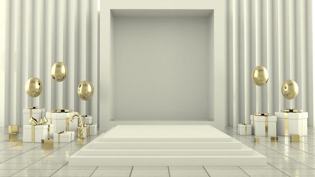Rappresentazione geometrica della decorazione 3d di concetto di scena dell'albero di natale di forma - illustrazione 3d