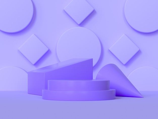 Rappresentazione geometrica di forma 3d di scena porpora astratta del podio