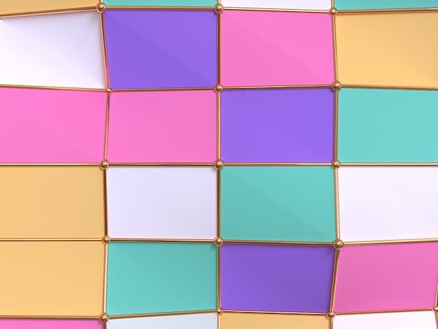 Rappresentazione geometrica variopinta astratta del modello 3d della carta da parati di forma