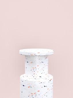 Rappresentazione in bianco stabilita di podio / scaffale 3d di forma geometrica di struttura di marmo