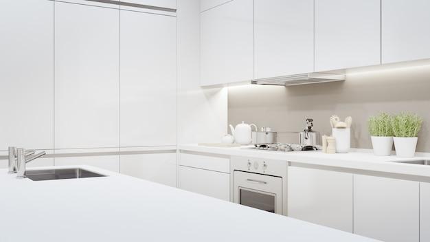 Rappresentazione interna domestica 3d con il contatore superiore bianco vuoto per l'esposizione del prodotto.