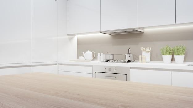Rappresentazione interna domestica 3d con il contatore superiore di legno vuoto per l'esposizione del prodotto.