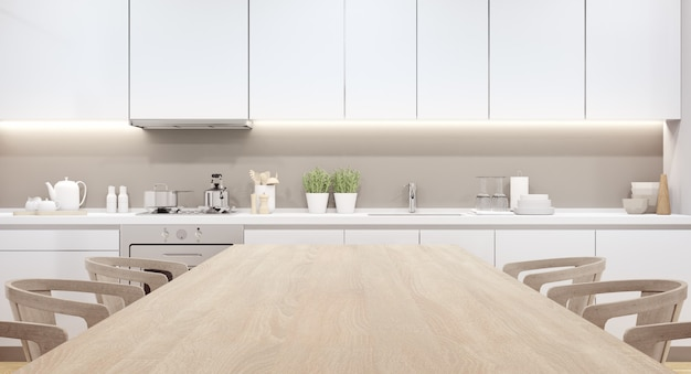Rappresentazione interna domestica 3d con la tavola superiore di legno vuota per l'esposizione del prodotto.