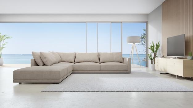 Rappresentazione interna domestica bianca 3d con la vista del mare.
