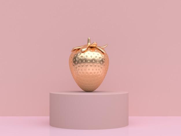 Rappresentazione metallica 3d dell'oro astratto della fragola della scena rosa crema molle