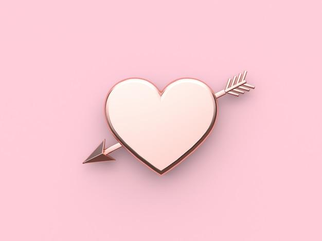 Rappresentazione metallica di concetto 3d del biglietto di s. valentino di rosa della freccia del cuore