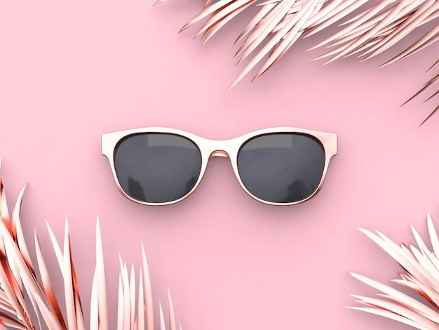 Rappresentazione rosa di concetto 3d di estate degli occhiali da sole dell'estratto di scena