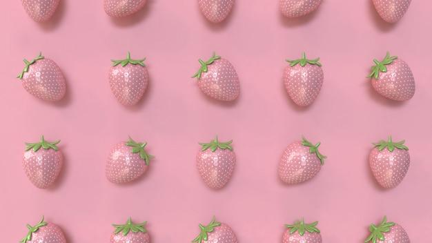 Rappresentazione rosa minima 3d del fondo 3d del modello rosa astratto della fragola