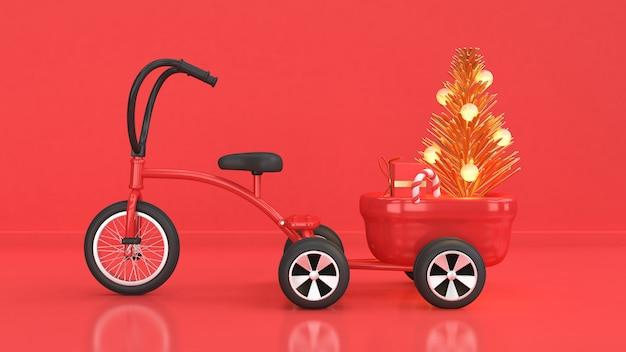 Rappresentazione rossa del contenitore di regalo dell'albero di natale dell'estratto del triciclo di scena 3d