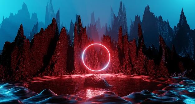 Rappresentazione rossa della luce al neon 3d dell'anello di incandescenza di viaggio nello spazio di illuminazione futuristica della roccia futuristica del paesaggio del pianeta di fantascienza