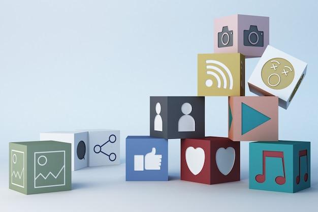 Rappresentazione sociale di concetto 3d di media della scatola variopinta delle icone e delle icone di emojis