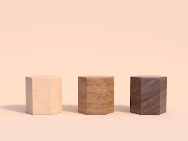 Rappresentazione stabilita del fondo 3d di legno tre tre
