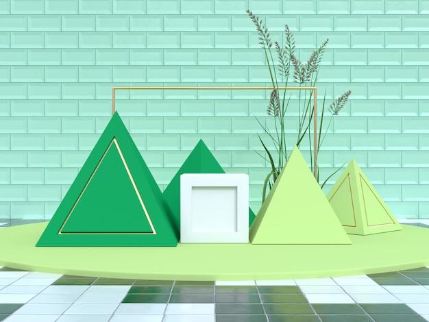 Rappresentazione stabilita del podio 3d di forma geometrica di scena verde