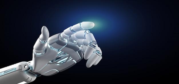 Rappresentazione uniforme di onn della mano del robot del cyborg 3d