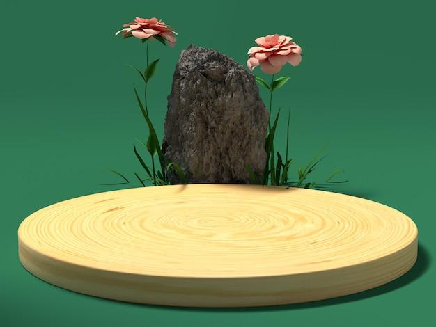 Rappresentazione verde di installazione 3d del legno e della pietra di scena verde