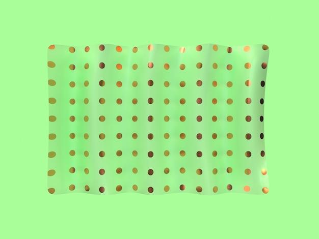 Rappresentazione verde minima di levitazione 3d di forma quadrata di scena
