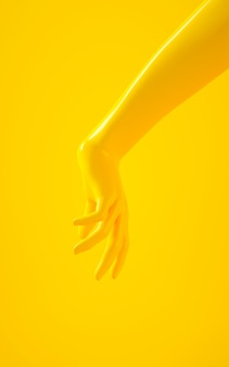 Rappresentazione verticale 3d della mano gialla su fondo giallo