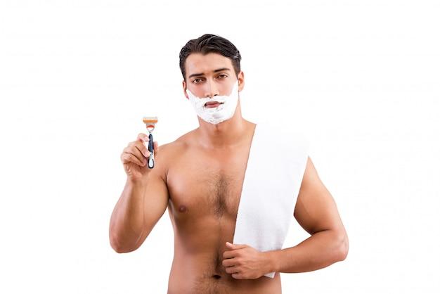 Rasatura bella dell'uomo isolata su bianco