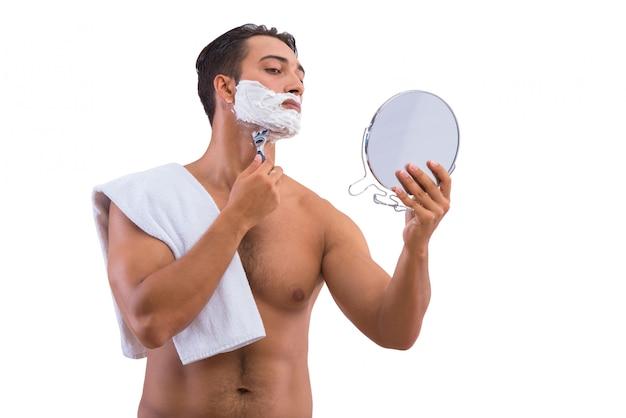Rasatura dell'uomo isolata su bianco