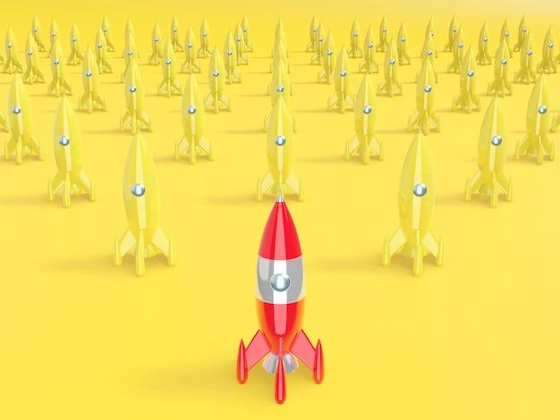Razzo spaziale, concetto di successo, leadership, startup, rivalità