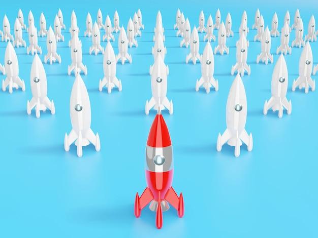 Razzo spaziale: un concetto di successo, leadership, startup, rivalità. rendering 3d.