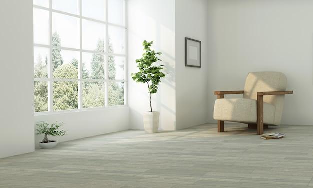Realistica idea neutra di progettazione del salone con la parete bianca