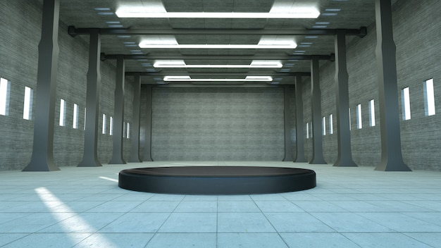 Realistico display a podio hangar vuoto