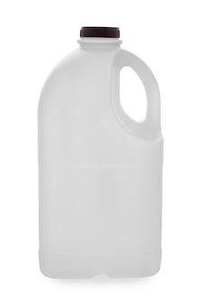 Recipienti di plastica della bottiglia per il latte di gallone su bianco
