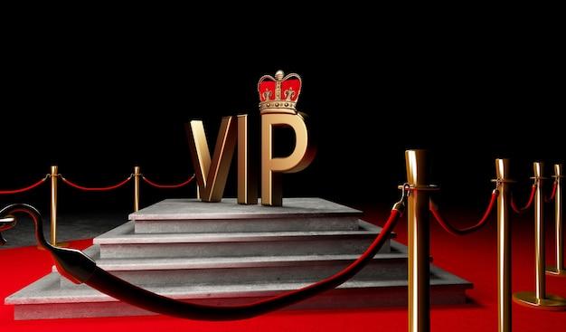 Red event carpet, scale e gold rope barrier concetto di successo e trionfo