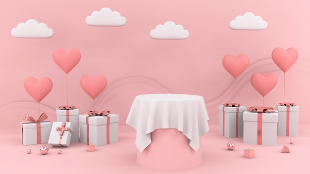 Regali con palloncini a forma di cuore e tavolo vuoto bianco