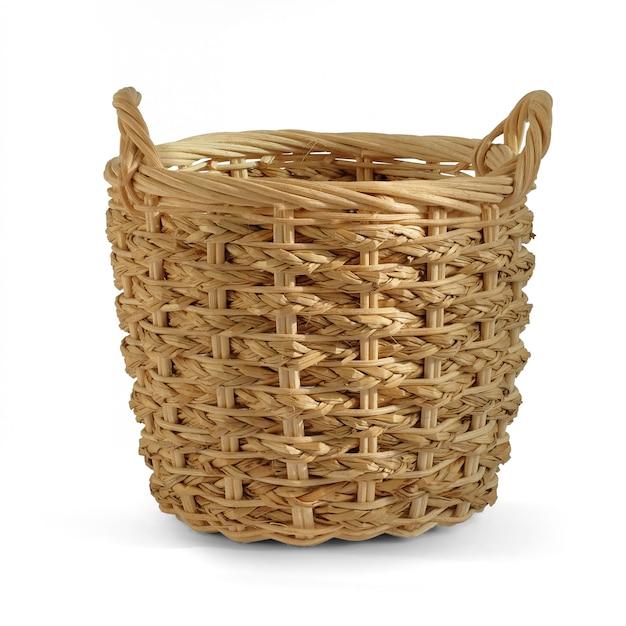 Regalo in bianco del cestino di vimini per mettere i prodotti delle verdure della frutta della panetteria