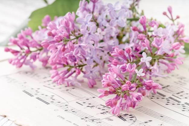 Regalo romantico fiori lilla sul tavolo