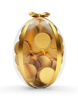 Regalo trasparente uovo di pasqua pieno di monete d'oro
