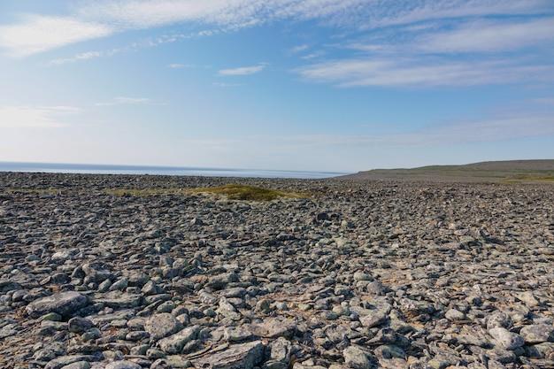Regione di murmansk riva dell'oceano artico sulla penisola di sredniy