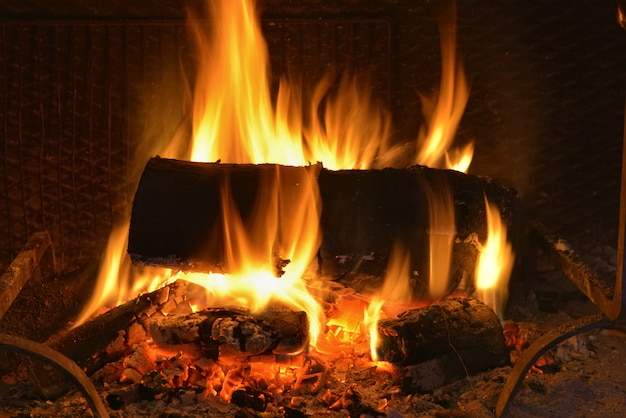 Registri che bruciano nel camino