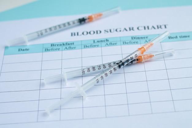 Registro del livello di zucchero nel sangue e diario di monitoraggio del livello di glucosio con siringhe su sfondo azzurro