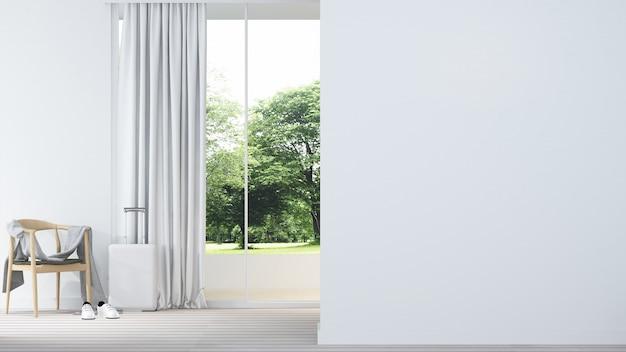 Relax spazio interno minimal e decorazione murale vuota in appartamento-