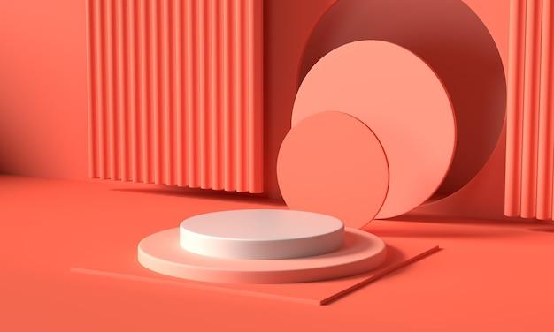 Renda l'immagine dell'esposizione o della vetrina geometrica astratta del podio di colore rosa