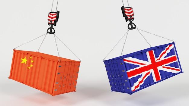 Render 3d di tarrifs di importazione commerciale del regno unito