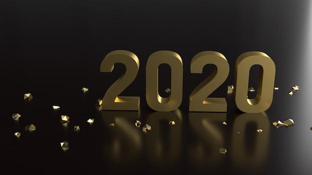 Rendering 3d 2020 numero d'oro per il nuovo anno