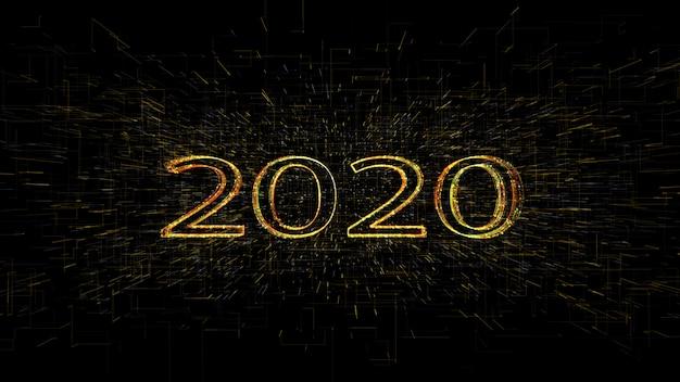 Rendering 3d 3d oro dorato giallo 2020 linea leggera sfondo, per buon natale e felice anno nuovo.