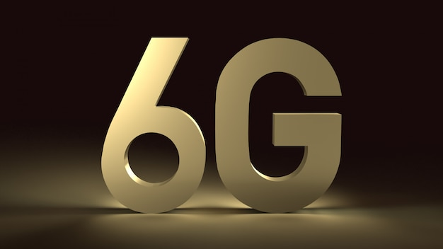 Rendering 3d 6g testo bagliore di superficie oro in immagine scura per contenuti di tecnologia mobile.