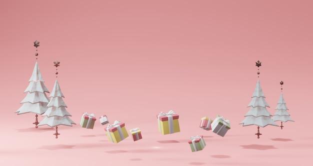 Rendering 3d. alberi bianchi e scatole regalo. concetto minimal astratto