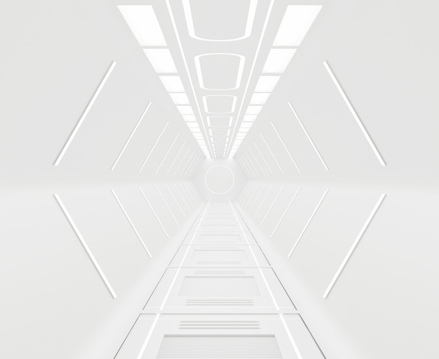 Rendering 3d ammobiliato, fondo interno bianco astronave