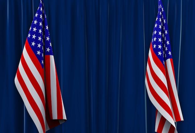 Rendering 3d. appeso bandiere dello stato americano sulla parete divisoria blu scuro.