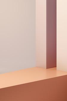Rendering 3d assegna il podio in armonia con il colore arancione.